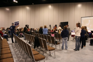 The front of the room at the Palin rally.  Slideshow at right.