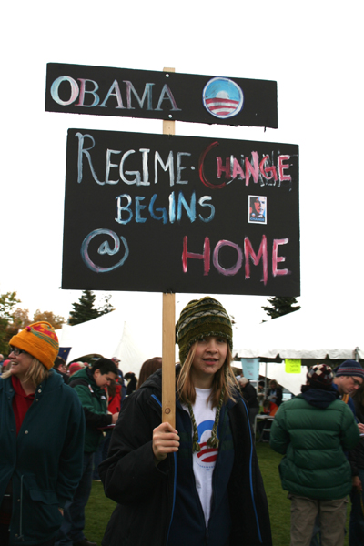 An Obama supporter at a rally in Anchorage