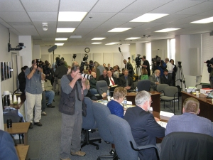 Media frenzy as the Legislative Council Releases the Branchflower Report.